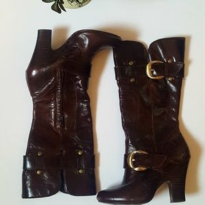 Naughty Monkey Leather Buckled Knee High Boots